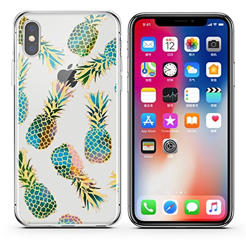 iPhone X, bunt, Gummi Flexible Silikon Schutzhülle Bumper transparent Cover-Gold Teal Ananas