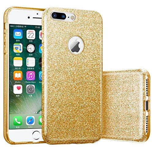 iphone 7 plus case, Hanlesi lucida copertura [bling chiarissimo] [slim fit] 3 strato ibrido con brio premio trasparente tpu custodia per apple iphone 7 Plus 5,5 Inch Rose doro