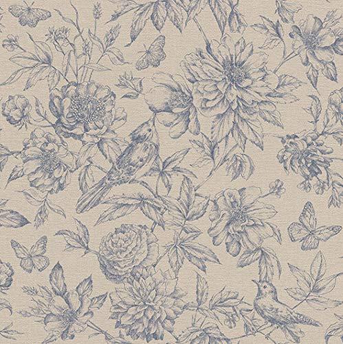 rasch Tapete 449471 aus der Kollektion Florentine II - Vliestapete in Beige mit floralem Muster im Vintage Stil - 10,05m x 53cm (L x B)