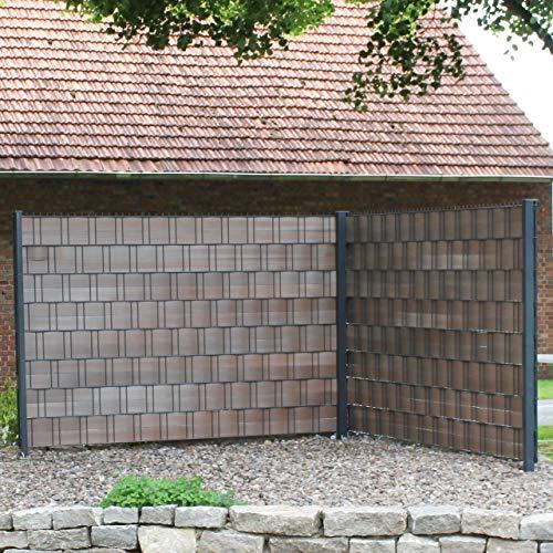 VIDEX GmbH & Co. KG Videx-Hart-Kunststoff Sichtschutz-Streifen Premium, 9,5 x 200 cm Braun, Groß-Packung: 9 x 2er Set