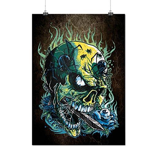Gote Schädel Heiß Horror Mattes/Glänzende Plakat A3 (42cm x 30cm) | (Kostüm Heißes Thema Katze)