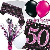 Neu: 33 pièces Kit de décoration de Table pour Anniversaire 50 Ans avec Nappe + confettis + Serviettes de Table + décoration de Table de fête.
