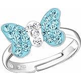SL-Silver, anello con farfalla di cristallo, in argento Sterling 925, misura regolabile, custodia portagioielli inclusa, da d