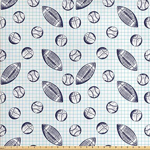 toff als Meterware, Checkered Squares Kulisse, Qualitäts Stoff Dekorativer Polster Heimtextilienstoff, 2M (160x200cm), Indigo und Blassblau ()