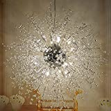 Lustres de boule de feu d'artifice d'étoile, plafonnier post-moderne d'acier inoxydable LED Lustre de fer de salon de fer créatif lampe pendante de salle à manger, lumière chaude