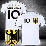 ElevenSports Deutschland Trikot mit GRATIS Wunschname + Nummer + Wappen Typ #D25 günstig im EM/WM Weiss - Geschenke für Kinder,Jungen,Baby. Fußball T-Shirt personalisiert