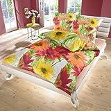Lianne (Gerbere) - SoulBedroom 100% Cotone Biancheria da letto matrimoniale (Copripiumino 250x200 cm & 2 Federe 50x80 cm)