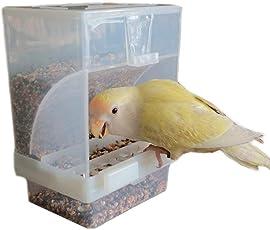 Hypeety Automatischer Futterspender Futterhaus Kein Durcheinander Pet Samen Food Container Sitzstange Käfig Zubehör für Wellensittich Kanarischen Finch Sittiche Nymphensittiche