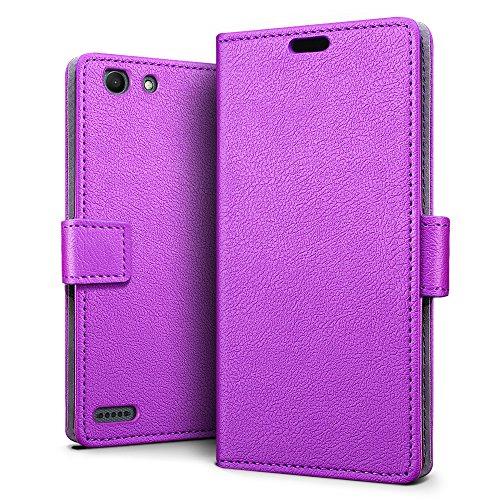 SLEO Vodafone Smart E8 Hülle, Leder Case PU Ledertasche Magnet [Vollständigen Schutz] Flip Case mit Standfunktion Kartenfächer im Bookstyle für Vodafone Smart E8 - Lila