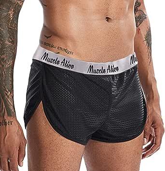 Men Extreme Mesh Shorts with Large Split Sides Underwear Boxers Briefs