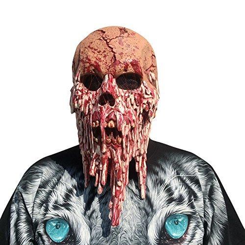 Halloween Maske Horror Zombie Monster Dämon Totenkopf Schädel Kopfmaske Untoter Latex Maske für Gekleideten Abend / Halloween / Karneval / Masken Party/ Cosplay (Rote Maske Haar Totenkopf Mit)