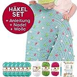 Myboshi Häkel-Set Babydecke mit Pünktchen 64cm x 67cm: 8 x Wolle Lieblingsfarben No.2 + Häkelanleitung + Häkelnadel + selfmade Label Wollfarben (Meerblau /Limettengrün / Magenta / Weiß)