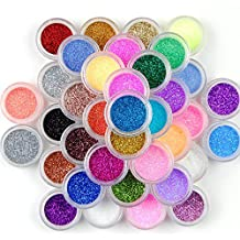 Prochive Lot de 45 pots de poudre brillante pour décoration d'ongles, maquillage et nail art