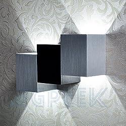 AGPtek 6W Lámpara de Pared para Interior, LED Lámpara Moderna Nocturna para Sala de estar, Pasillo, Escalera, Comedor, Dormitorio...(Argéntea Cúbica)