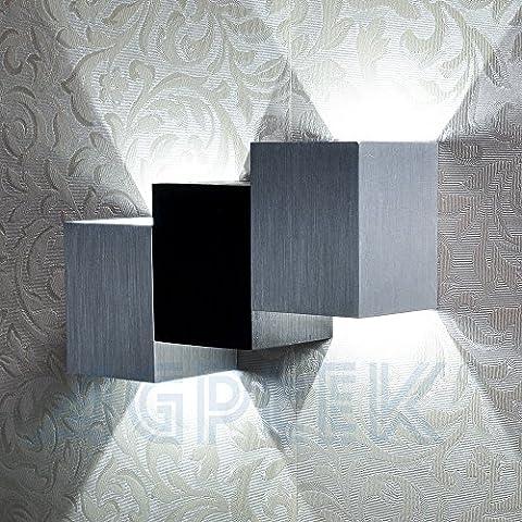 AGPtek® Applique Murale Intérieur LED Moderne Lampe Carrée 6W Lèche-murs