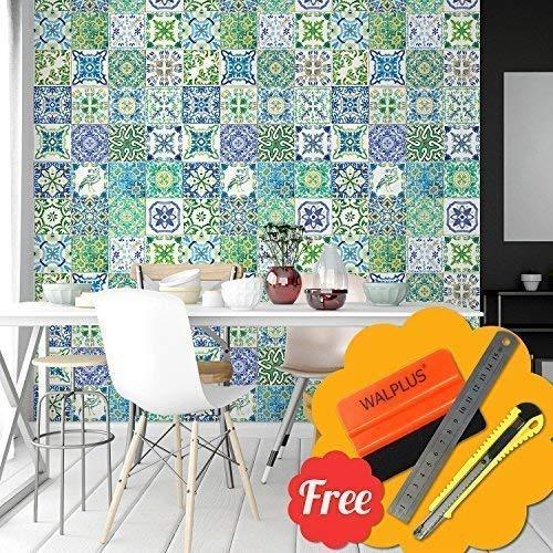 Selbstklebend Wandkunst Aufkleber Vinyl Wohndeko DIY Wohnzimmer Schlafzimmer Küche Dekor Tapete Türkisch Blau & Grün Mosaik Fliesen Wand Sticker 48 Stk. 15cm X 15cm ()