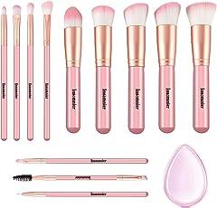 Pennelli Make Up Insomnier 12 pz manico in legno cosmetici Brush set Eyeshadow correttore labbro sopracciglio fondazione spazzole per polvere liquido crema con spugna in silicone (rosa)