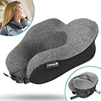 Travel Neck Pillow, Fosmon Soft and Comfortable Memory Foam Neck Cushion, Head & Chin Support Travel Pillow, Machine Washable 100% Cotton Cover for Airplane and Car - Dark Gray/Black