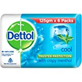 Dettol Intense Cool Bathing Soap Bar with Menthol (Pack of 6 - 125g each), Combo Offer on Bath Soap