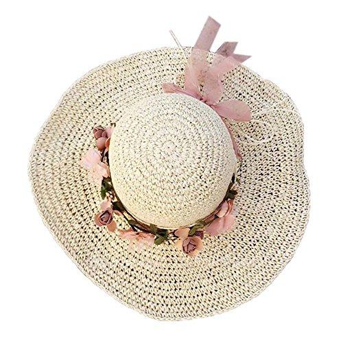 PANDA SUPERSTORE Strohhut Strandhut runde Kappe Sommer Schatten Sonnencreme breiter Krempe Hut (Beige)