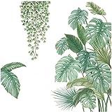 4 Pièces Autocollant Mural Plante Verte, Sticker Mural Plante Tropicale, Convient pour Chambre à Coucher, Salon, Salle à Mang