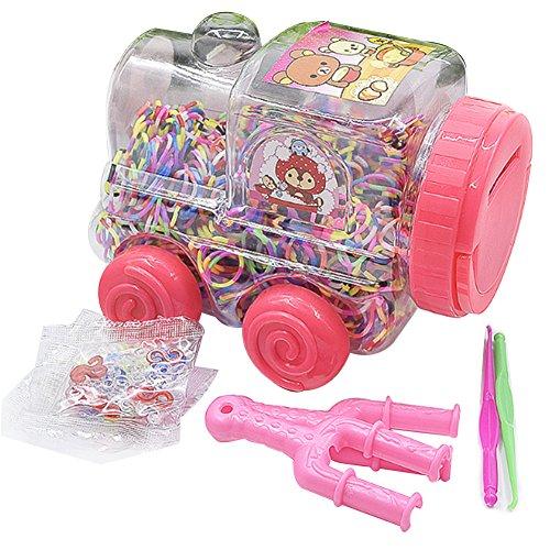 Rocita Rainbow Loom, Kit beinhaltet Loom, Metall Haken, Mini Rainbow Loom, 600Gummibänder + 24Clips