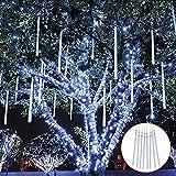 ZXYSHOP Meteorschauer Lichter 30CM, 8 Tubes Meteor Lichterkette, LEDs Lichterkette, Meteorschauer Regen Lichter für Weihnachtsdekoration, Garten, Aussen und Party White-30cm