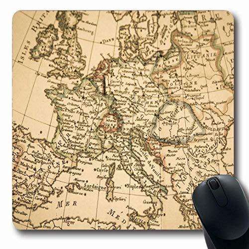 Mousepads für Computer Italien Antike Alte Karte Europa Griechenland Frankreich Mittelmeer Spanien Deutschland Travel Design rutschfeste Gaming-Mausunterlage -