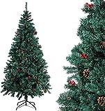 Homfa Albero di Natale di qualità per la Decorazione Natalizia con Decorazioni (195cm)