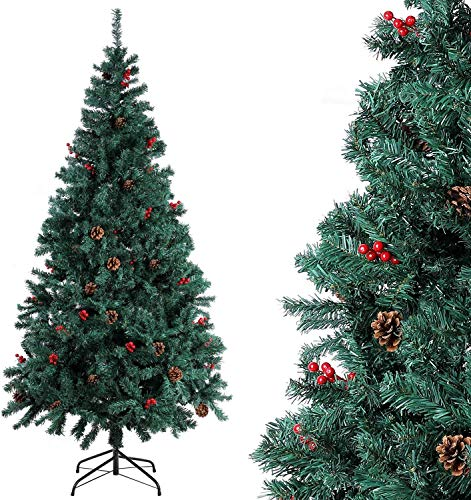 Homfa Albero di Natale di qualità per la Decorazione Natalizia con Decorazioni (180cm)