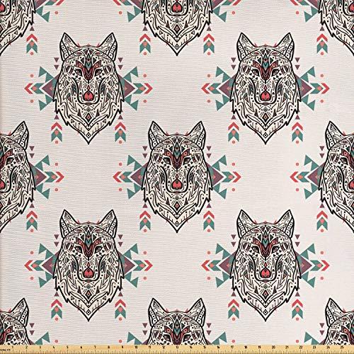 ABAKUHAUS Hundeliebhaber Gewebe als Meterware, Stammes-Wolf-Muster, Schön Gewebten Stoff für Polster und Wohnaccessoires, 1M (160x100cm), Mehrfarbig -
