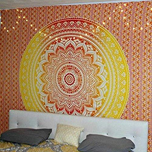 Qiaodaye arazzo hippie decorazioni per la casa da parete boemia tappetino da spiaggia tappetino da yoga tappetino da letto arazzo giallo arancio a356-130x150cm
