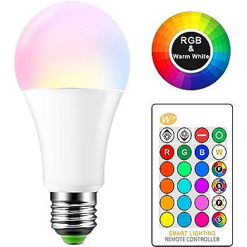 E27 RGB LED Cambio de color Lámpara 15 W bombillas de colores con mando a distancia AC 85 - 265 V RGB + Blanco Cálido 2700 K Etapa luz DJ Disco Club ...