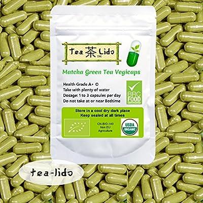 Matcha Green Tea Powder Vegicaps, 90 Capsules, 500mg, Certified ORGANIC, Premium Quality from tea-lido