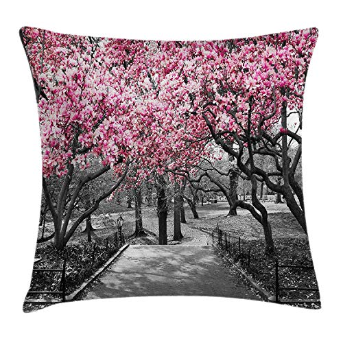 Cherry-gewebe-sofa (shizh Dekokissen Kissenbezug Blüten in der Central Park-Landschaft mit Jahreszeit-Bild Cherry Trees Forest im Frühjahr Pillow Case 45x45 cm,Magentagrau)