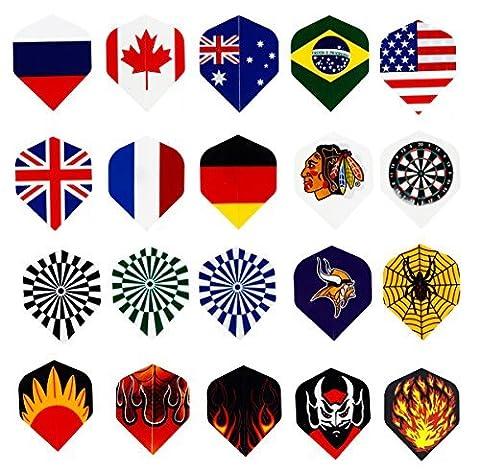 Centaur 20 Sets (60 Stück) Nylon Dart Flights, DARTPFEILE Flüge Großhandel National Flagge Coole Styles