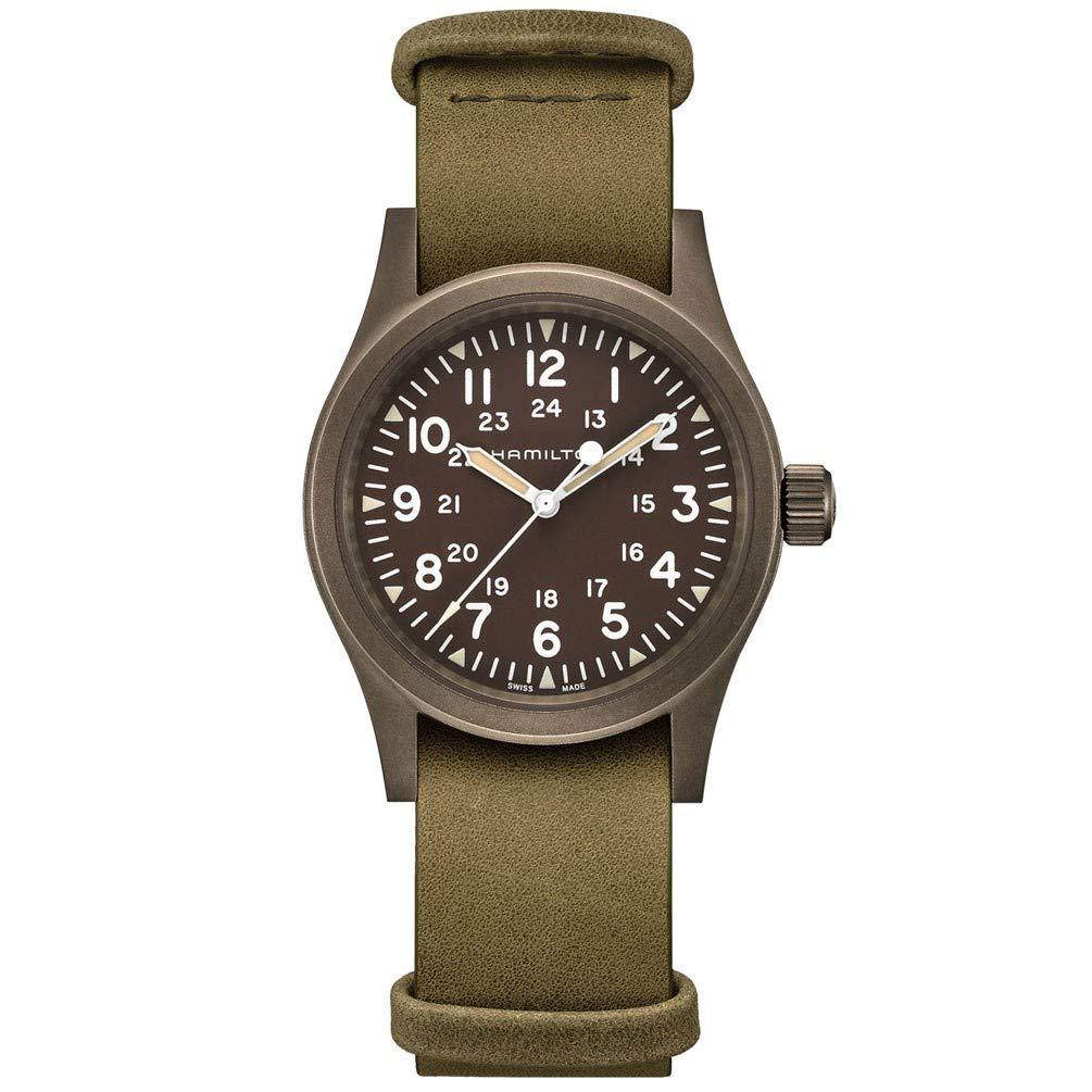 Hamilton Khaki Field Mechanical Watch Brown Dial Leather Strap H69449861
