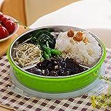 KHSKX 304 Edelstahl Runde Isolierung Unterraster Mittagessenkästen, kreative Kinder Brotdosen, Studenten-Doppelschicht-japanischen Lunch-Boxen,B