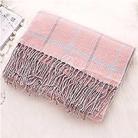 Imitación cashmere mantón largo señoras gruesas engrosada plaid otoño e invierno bufandas,Rosa