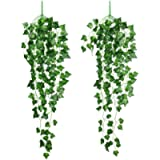 Artificial Hanging Vines Plants SMALUCK 2 Packs Plastic Fake Trailing Weeping Ivy Greenery Drooping Plant for Porches…