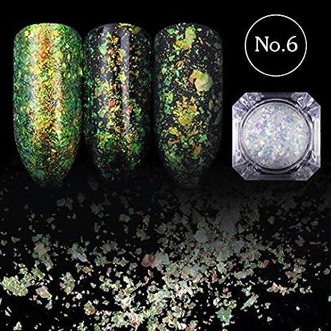 Hunpta caméléon à ongles Paillettes poussière de paillettes Dazzling Transparent Paillettes Manucure Nail Art Paillettes Décorations de