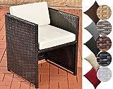 CLP Polyrattan-Sessel Tahiti Inklusive Sitzkissen | Robuster Gartenstuhl mit Einem Untergestell aus Aluminium | in Verschiedenen Farben erhältlich Rattanfarbe: Schwarz, Bezugfarbe: Cremeweiß