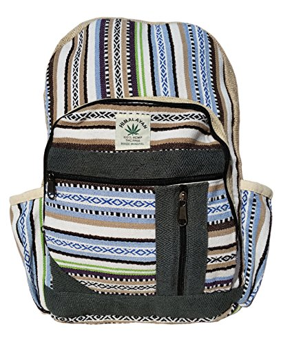 Handgemachter Rucksack / Daypack / Backpack aus natürlichem Hanf mit Laptop-Tasche - UNISEX - MADE IN NEPAL (Blue Stripes) (Handtasche Logo Hobo)