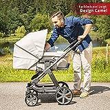 ABC Design Kombi-Kinderwagen Set Turbo 4 – inkl. 3in1 Tragewanne für Neugeborene, Liegefunktion, ausklappbarem Sonnenverdeck, Schieber höhenverstellbar, Sitz drehbar, große Räder – Bean - 7