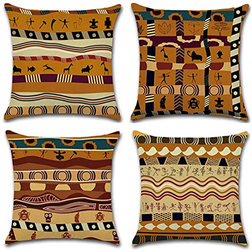 Gspirit 4 Pack Estilo étnico Africano Algodón Lino Throw Pillow Case Funda...