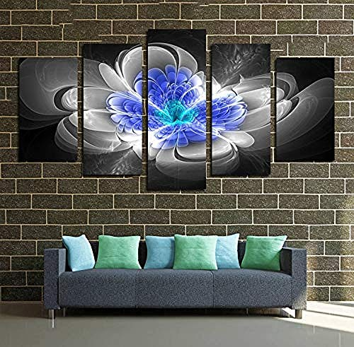 Arte pared pintura lona cinco flores color azul gris