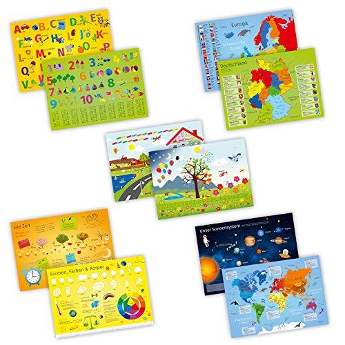 nikima - 5er Set Schreibtischunterlage mit Lerneffekt - Karton - ABC, Deutschland, die Erde, Englisch. - Größe: A3 für Kinder (Tischsets Für Das Lernen)