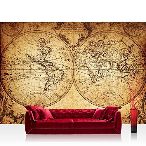 Empapelado fotográfico a modo de cuadro para la pared, en diseño de mapamundi, estilo vintage y de 300 x 210 cm (N.º 076)