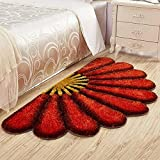 Raedial Arts Half Round Red Color Sunflower Area Rug Mats For Bedroom Living Room Round Mats Computer Chair Mat