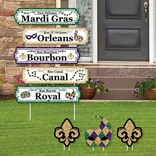 Mardi Gras Street Sign Cutouts - Masquerade Party Yard Schilder & Dekorationen - Set von 8 ()